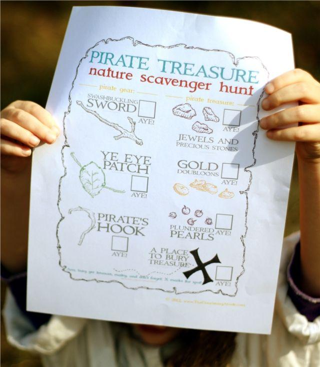 Pirate Treasure Printable....nature scavenger hunt adventure challenge ...