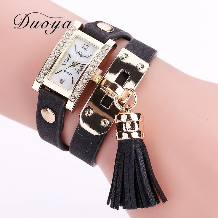 Duoya Brand New Design Fashion Ladies Women Watches Square Rhinestone Female Quartz Women Leather Strap Gold Chain Watch DY071