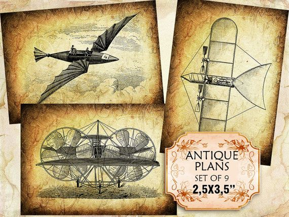 Vintage old flying machines and airplanes set of 9 2.5 x 3.5 inch Scrapbooking Greeting Cards Decoupage (308) Buy 3 - get 1 free