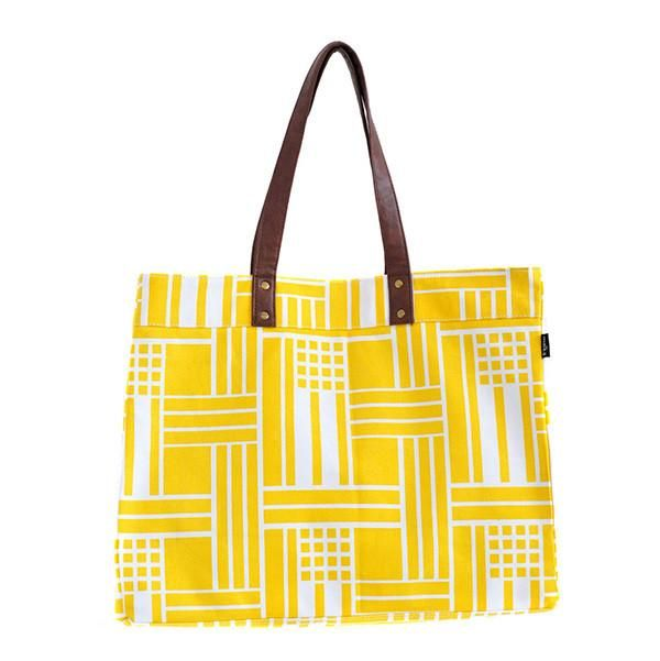 """Maze Canvas Carryall Tote 18"""" x 14"""" x 6"""" Printed on recycled canvas with eco-friendly pigment inks. Featuring interior pockets, water-resistant lining, strap and hook to attach our pouches."""