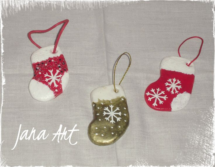 Christmas socks, totally handmade from cold porcelain. handpainted. Check my facebook page! http://www.facebook.com/artelien