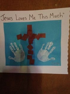 Cross and handprints for Easter