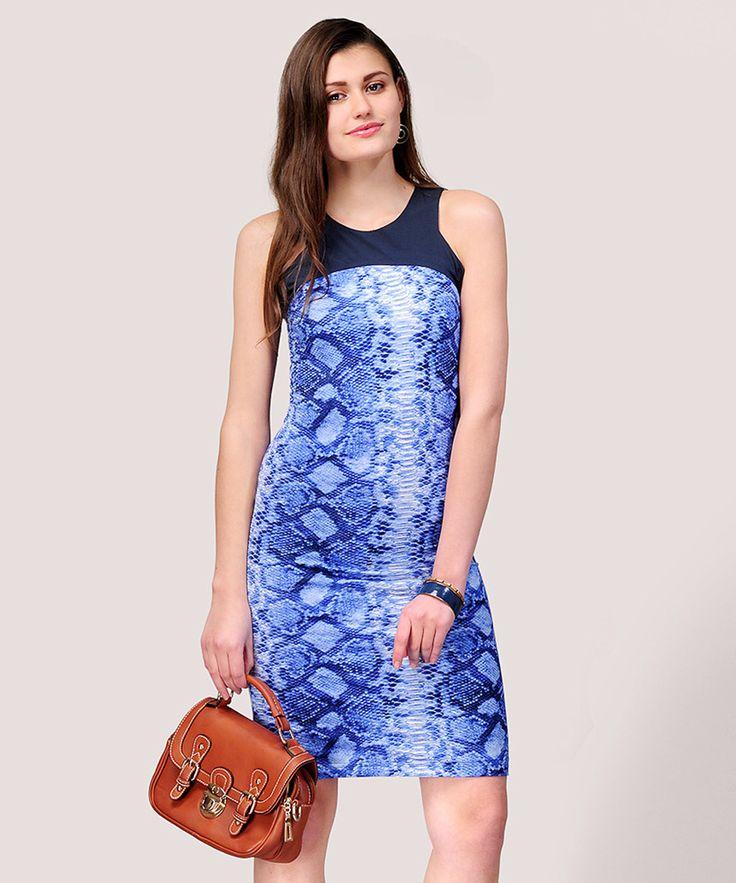 Buy Charlotte Printed Jersey Dress - Blue • shop smartly