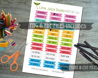 Printable Stickers-Digital Download-Word Strips-Project Life-Scrapbooking-Print and Cut-PNG/PDF/SVG plus **free** Silhouette Cut File