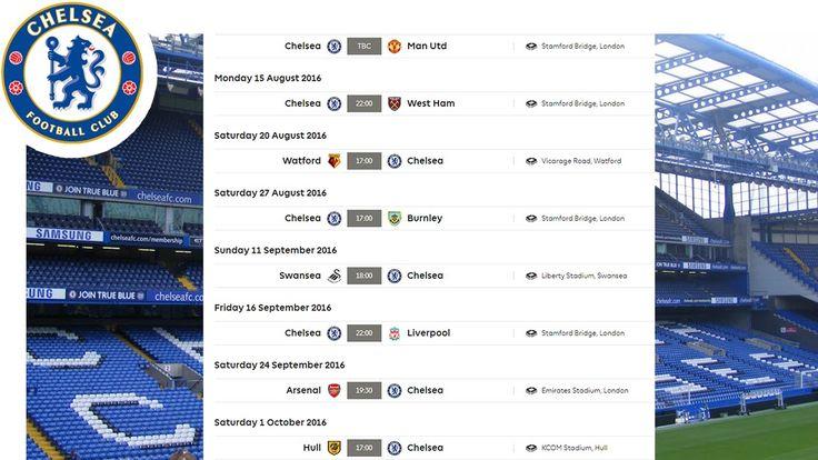 Chelsea All Fixtures   Premier League 2016/17