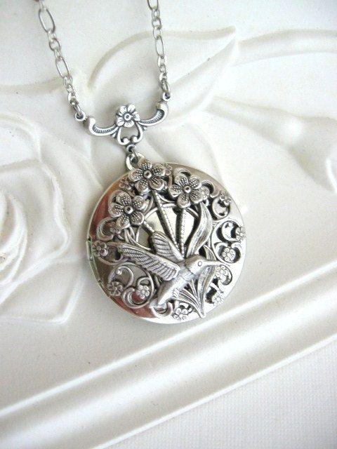 SALE Hummingbird Bird LOCKET, Silver Locket, Bird Locket, Birds, Antique Locket, Gift for Her, Bridesmaid Gifts, Wedding Jewelry via Etsy