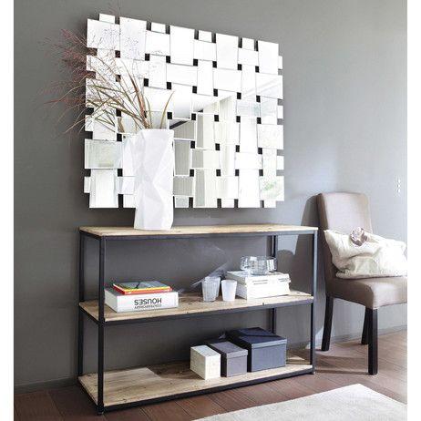 Konsolentisch im Industrial-Stil aus Metall und Massivholz, B 120 cm, schwarz Long Island   Maisons du Monde