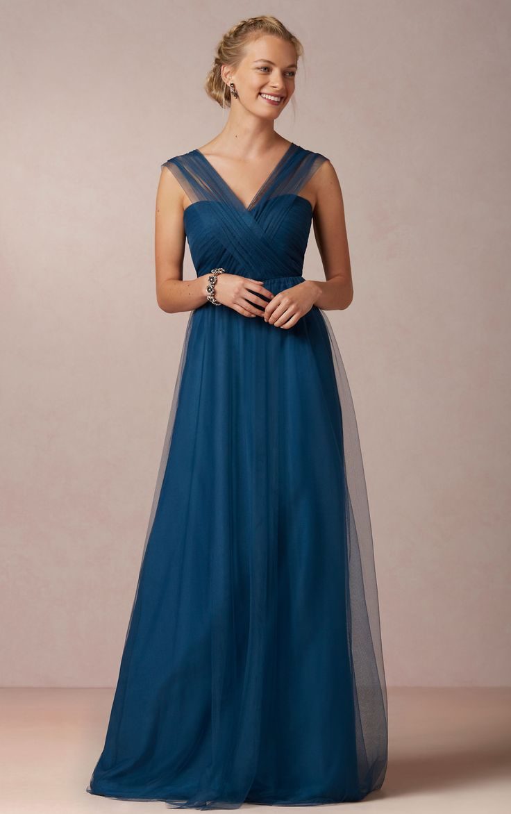Tulle Zipper V-neck Floor-length Natural Bridesmaid Dresses_1