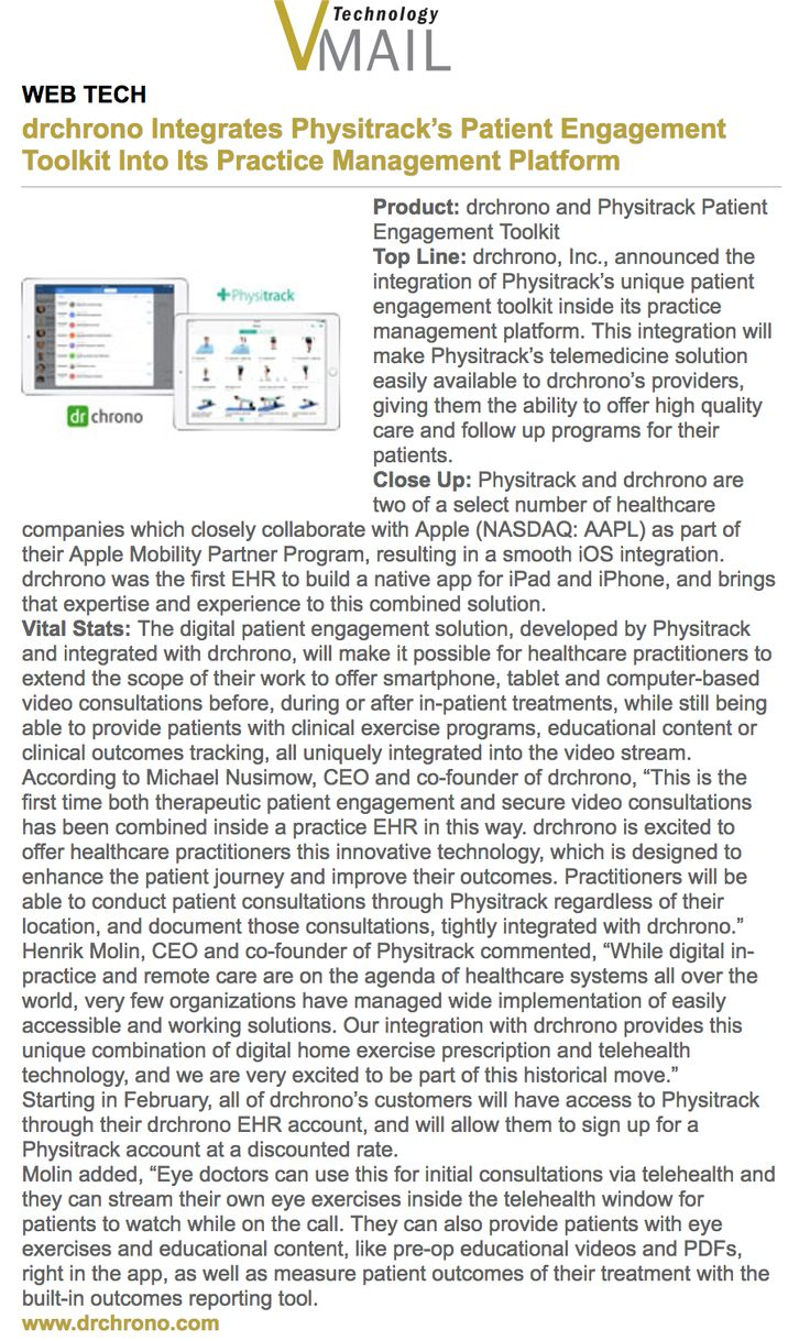 A great mention about drchrono in Vision Monday http://www.visionmonday.com/vmail/vmailtechnology.aspx?issue_id=3981