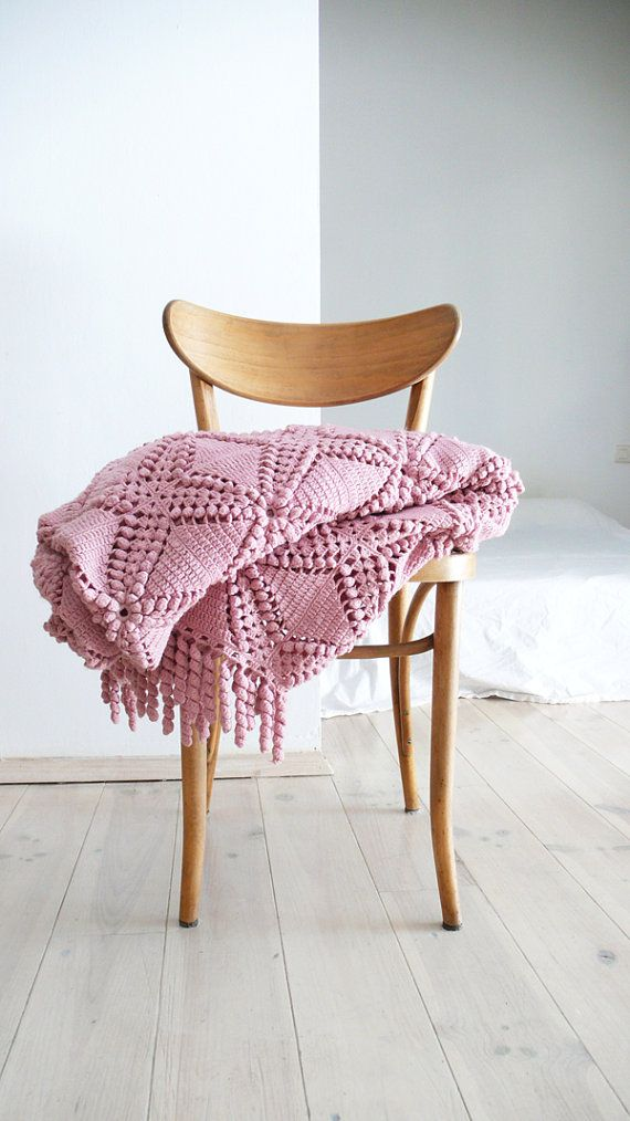 "Vintage crocheted blanket - ""Pink"""