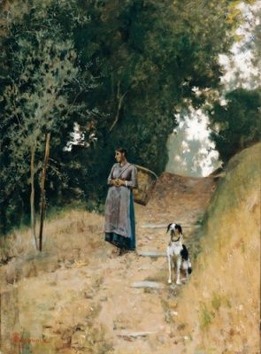 Telemaco Signorini  Contadina con gerla e cane (Firenze 1835 - Firenze 1901) 1895