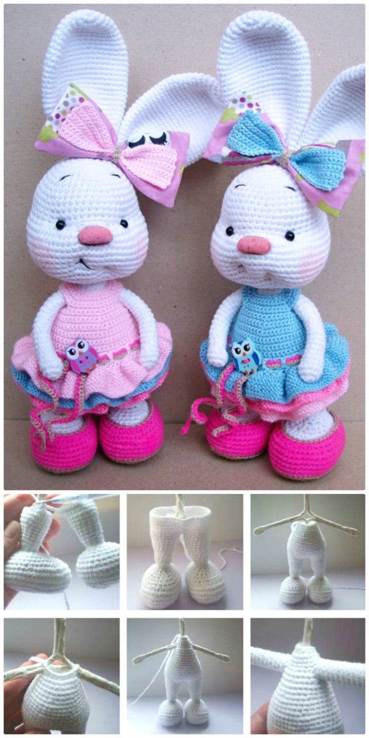 Crochet Pretty Bunny Amigurumi In Dress – Free Pattern - 63 Free Crochet Bunny Amigurumi Patterns - DIY & Crafts