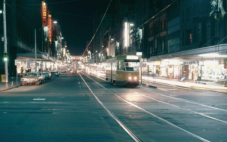 Bourke St Mall late 1970s watching the swinging sidewalks