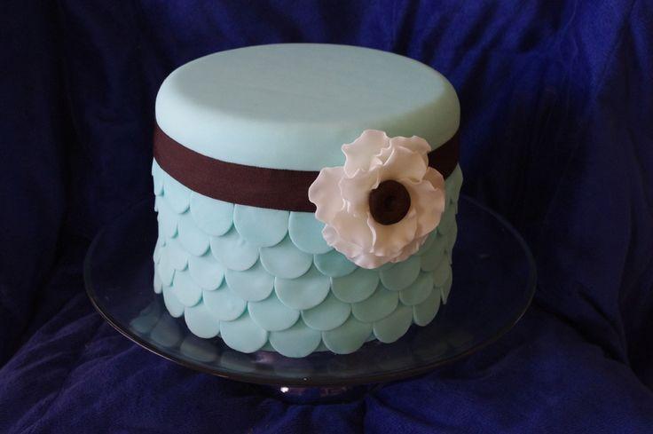 Blue scalloped cake