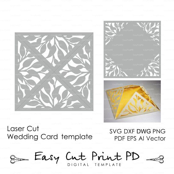 Leaves Leaf Laser cut Rustic Wedding invitation Pattern (studio V3, svg, dxf,dwg, ai, eps, png, pdf) Card Template folds Silhouette Cameo
