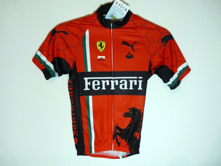 Kids youth red Ferrari cycling jersey F1 Formula 1 - NWT - Children large
