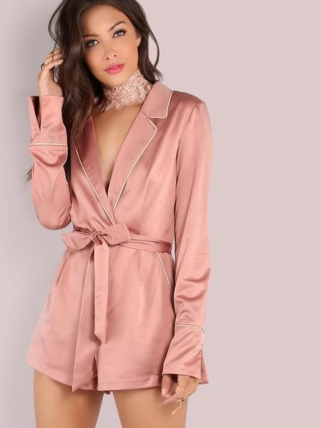pink satin playsuit, silk sexy romper, deep v neck tie up jumper romper - Lyfie