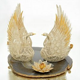 """Композиция """"Лебеди"""", арт. 0020038 - купить Царская коллекция в магазине подарков РУСЬ ВЕЛИКАЯ"""