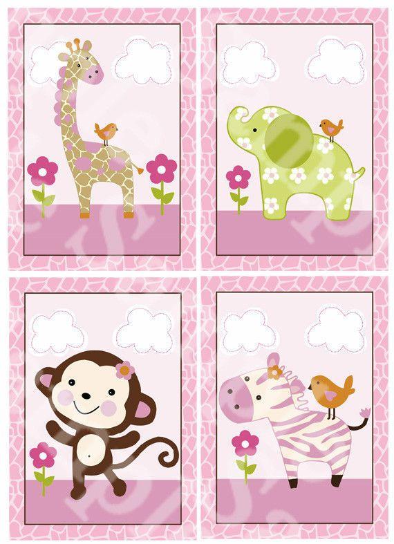 "A set of 4 ""Jungle Jill / Girl Animals"" 5x7 inch Nursery Art Prints"