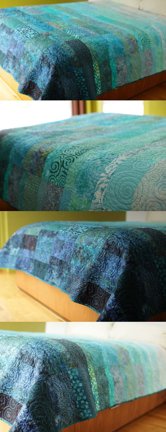 A bed quilt in Extra king size -  Ocean Rain made to by BtaylorQuilts. . Immerse yourself in warm turquoise waters. The calming and peaceful colors will transform your bedroom into an oasis of relaxation.