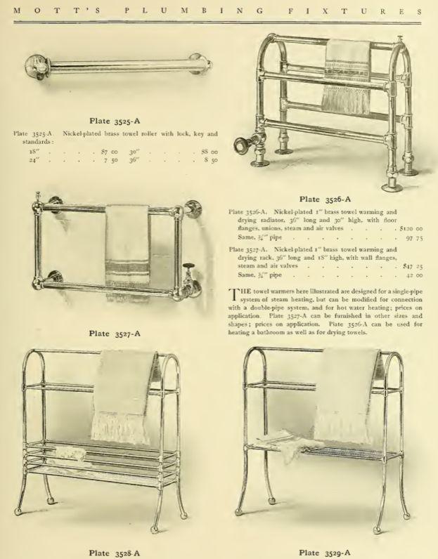 Towel warmers from 1907 Mott's Iron Works Plumbing catalog.