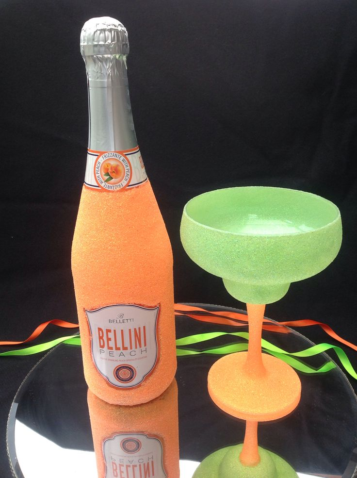 Bottle of Bellini and glass £17.99. Glass only £7.99 can make in different colours