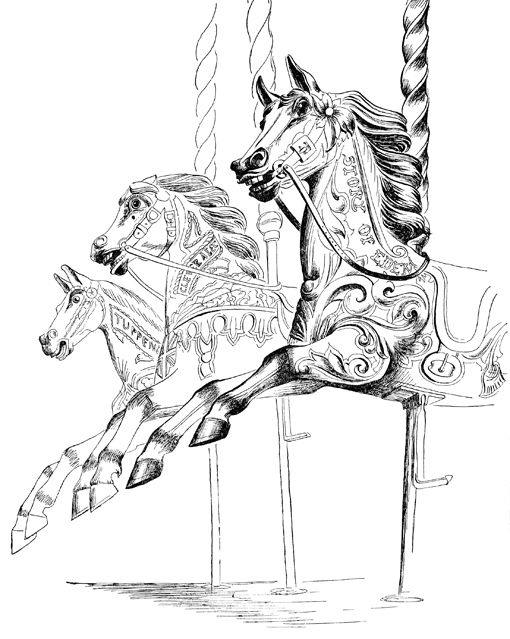 """Carousel"" illustration from ""The Unsophisticated Arts"" written and illustrated by Barbara Jones (Little Toller Books)"