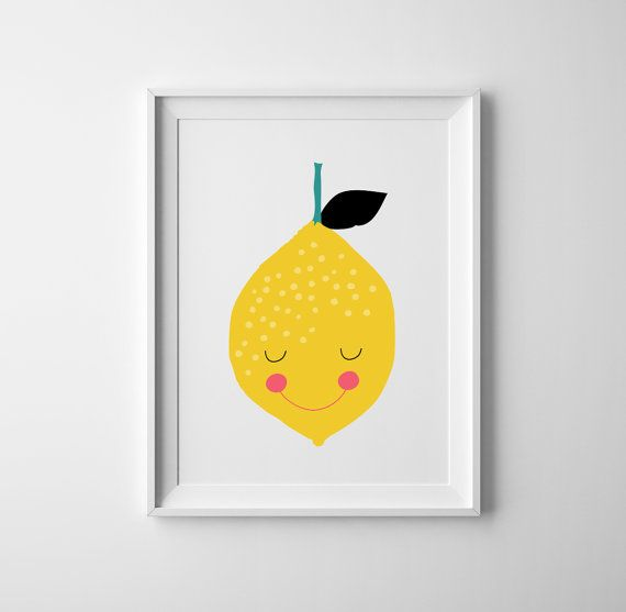 Hand drawn yellow and pink vege lemon baby boy/girl printable Nursery wall art and prints, baby art. Scandinavian childrens room art, boys room,
