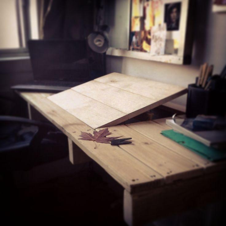 bureau en bois e récupération wodd desk #diy #wood #palet #desk #montréal