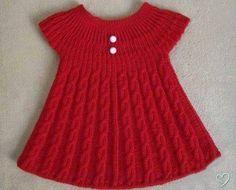 Kırmızı örgü kız çocuk bebek tunik - Örgü Modelleri