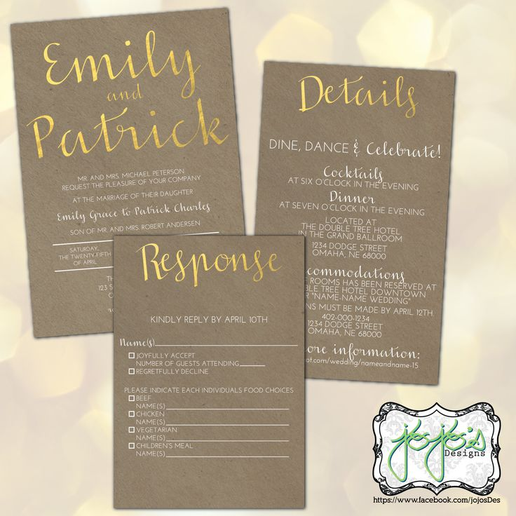 wedding shower invitations omaha%0A faux Kraft Paper and Metallic Gold Foil Wedding Invitation Suite  Digital  Files  by jojosdesigns