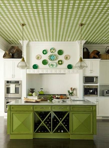 Dazzling green kitchen....interesting checkered ceiling...love the plate collection, the deeper shades of green pop