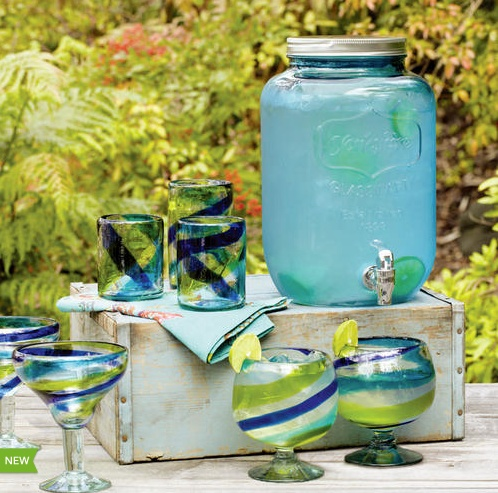 Blue Glass Yorkshire Dispenser and Cool-Toned Swirl Cups at Cost Plus World Market >> #WorldMarket Outdoor Entertaining & Decor