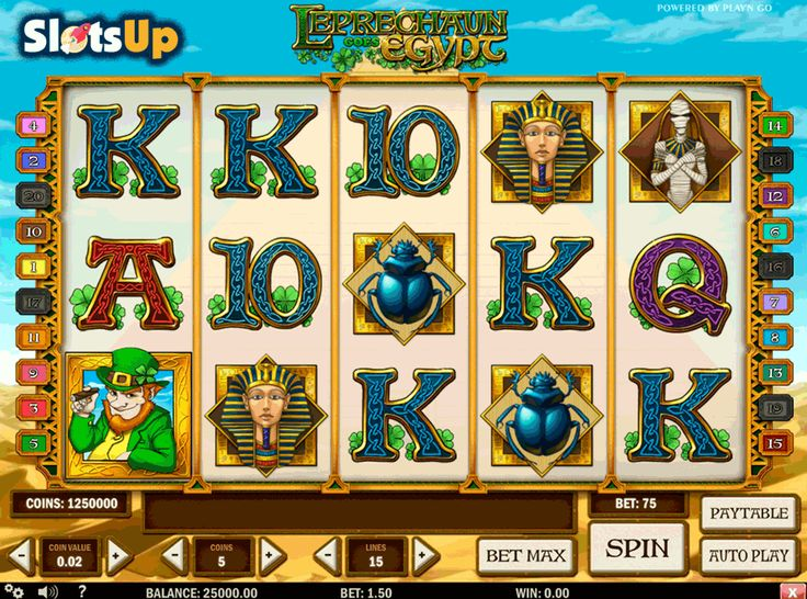 Find leprechaun's gold inside pyramids in the Leprechaun Goes Egypt #freeslot! This uniquely themed 5-reel, 30-payline video slot is the Play'n GO release. It combines icons of mummies, pyramids, Cleopatra and a leprechaun. Features of the Leprechaun Goes Wild slot are 2x Wild, Scatter, and Bonus symbols, 15 Free Spins with up to the 6x Multiplier, and a Cash-winning Bonus Round. Have the Irish luck playing this slot at www.SlotsUp.com.