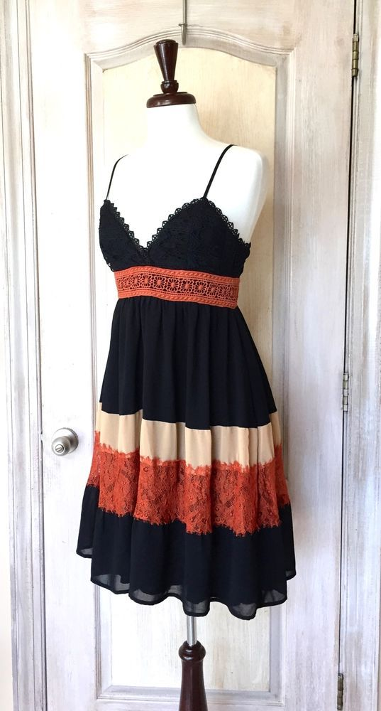 NEW Anthropologie HD in Paris black nude rust Babydoll Swing Lace Dress Petite M #HDinParis #fitflaredress #LittleBlackDress
