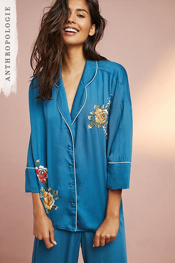 Lounge around in style, this weekend, with our Thea Embroidered Pyjama Tops.  This oversized shirt style will keep you fashionably cosy as you enjoy a duvet day or keep you wrapped up warm during those cold winter nights. Pair with the matching trousers.