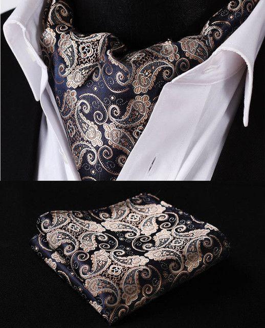 Paisley Floral Silk Cravat With or Without Pocket Square Handkerchief Suit Set