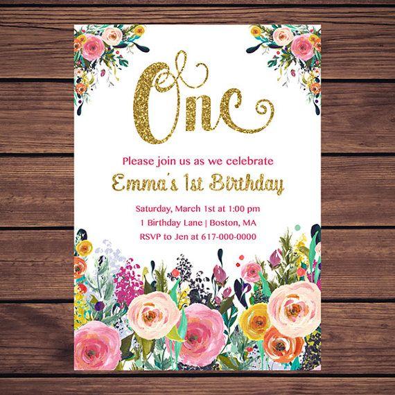 Flores 1ra cumpleaños invitación chica por DesignedbyGeorgette