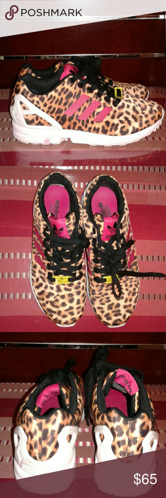 Adidas Torsion Sneakers Adidas Torsion Sneakers with ZX Flux in cheetah print with pink accent. adidas Shoes Sneakers