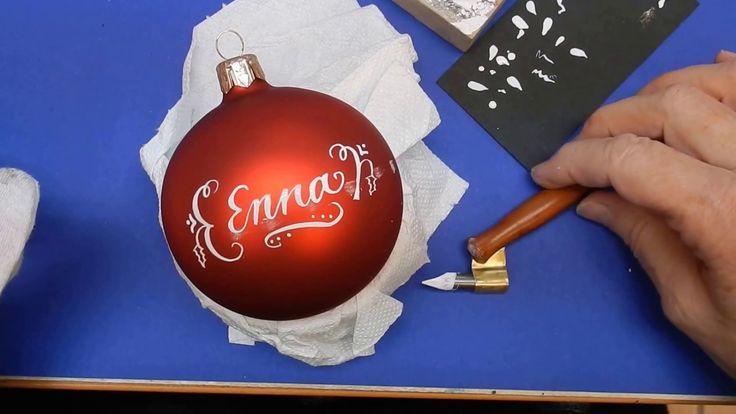 Kalligraphie Weihnachtskugel mit Wunschtext