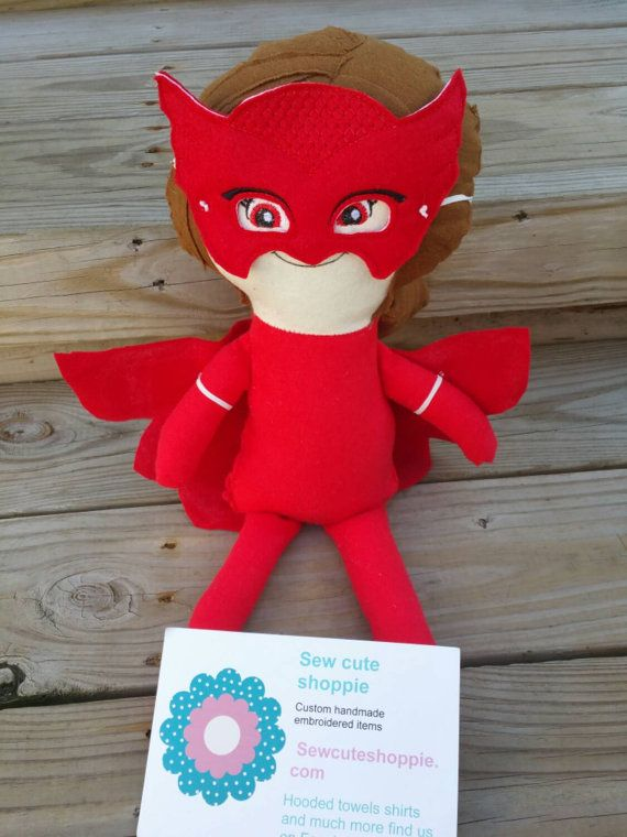 Red superhero doll with removable mask and cape by cuteshoppie