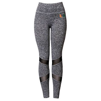 Women's Miss Fanatic Heathered Gray Miami Hurricanes Active Leggings with Mesh Inserts - University of Miami Store