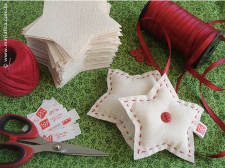 Sewn stars and Christmas crafts, buttons, Scandinavian, stitches, ribbon, red and white