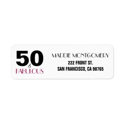 50 and Fabulous 50th Birthday Return Address Label - return address labels label diy personalize cyo unique design custom