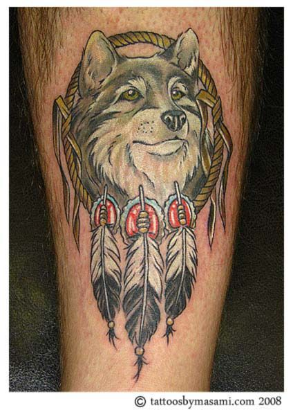 33 best tattoos images on pinterest dreamcatcher tattoos for Wolf tattoo with feathers