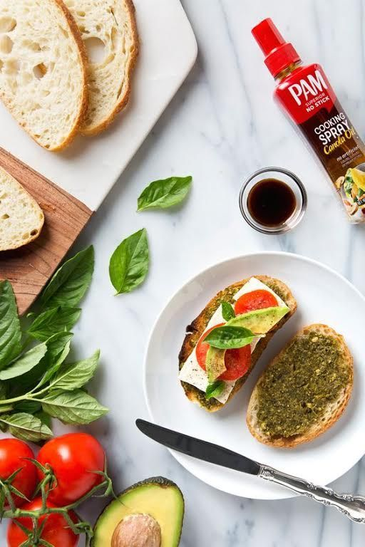 Vegan Caprese Grilled Cheese Sandwiches | Creamy avocado and flavorful pressed tofu replace the cheese. Made with the new PAM Cooking Spray Pump| #YouPAMDoIt AD www.picklesnhoney.com/2017/09/05/vegan-caprese-grilled-cheese-sandwich/