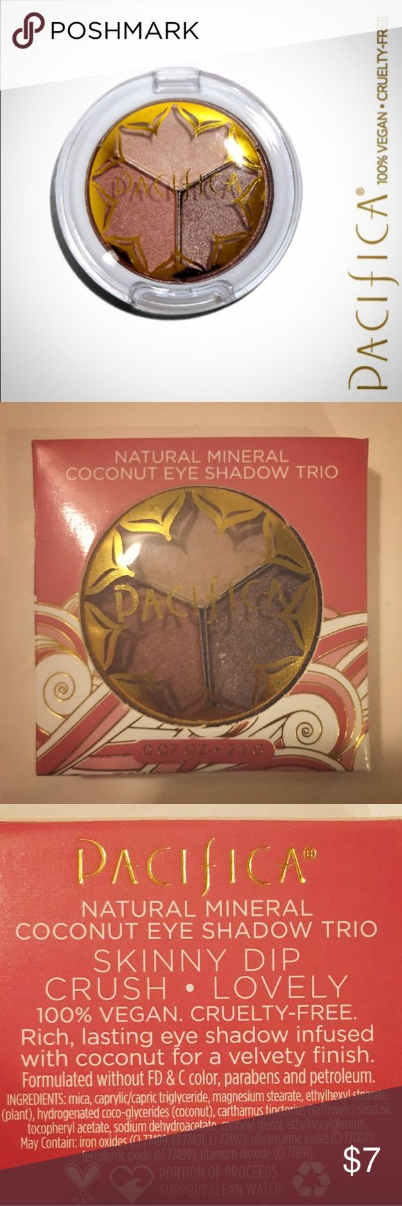 💥SALE💥NIB Pacifica Natural Coconut Palette Unopened box. Pacifica Natural Mineral Coconut Eye Shadow Sample Palette Trio - 100% VEGAN & CRUELTY FREE. NIB, smoke free home. 🌴 🌊   This shimmering trio of shades includes Crush (beige), Skinny Dip (copper) and Lovely (brown). These richly pigmented, velvety-smooth eye shadows complement each other for a subtle yet glitzy everyday eye look. 😘💕  Pacifica's products are not only innovative, but totally sustainable, and they're all are 100%…