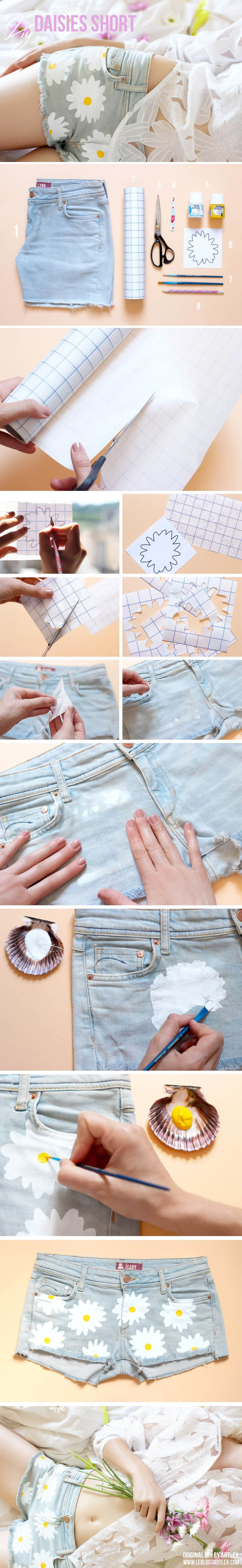 daisy short DIY, DIY short, DIY short marguerite, denim DIY, customiser un…