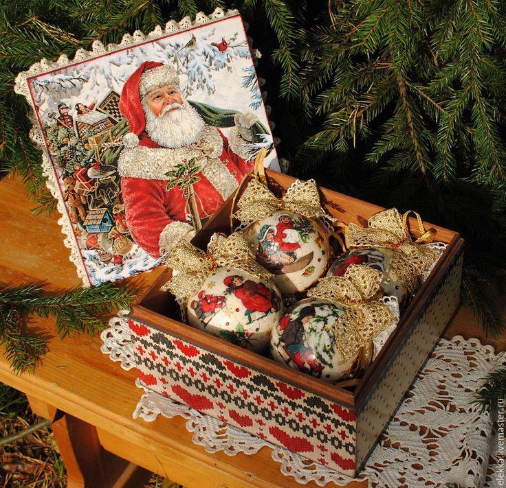 """Купить Набор игрушек """"На санках""""(4пр в шкатулке) - Новый Год, новогодний подарок, новогодний декор"""