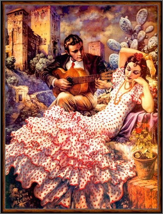 I love the art of Jesus Helguera. Here's a beautiful, dignified woman. His art has a retro, sweet quality that I adore, with beautiful pastoral landscapes and idealized characters. Just my style!